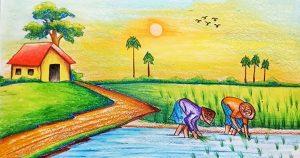 Vẽ tranh phong cảnh quê hương em đơn giản