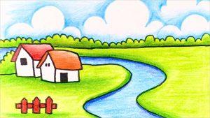 Những bức vẽ tranh quê hương em êm đềm và đơn giản